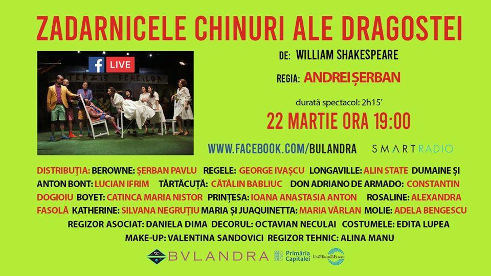 """SmartRadio.ro transmite azi un spectacol de Shakespeare – """"Zadarnicele chinuri ale dragostei"""", de la Teatrul Bulandra, de la ora 19:00"""