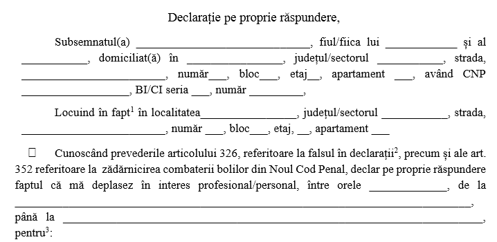 Modelul oficial de declarație pe care trebuie s-o completezi dacă ieși din casă