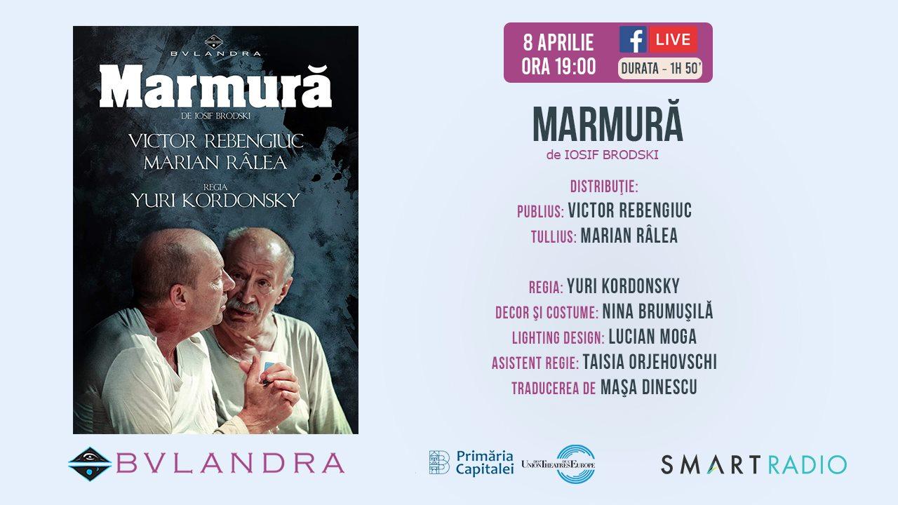 Hai la teatru online: 'Marmură', cu Victor Rebengiuc și Marian Râlea, de la ora 19:00