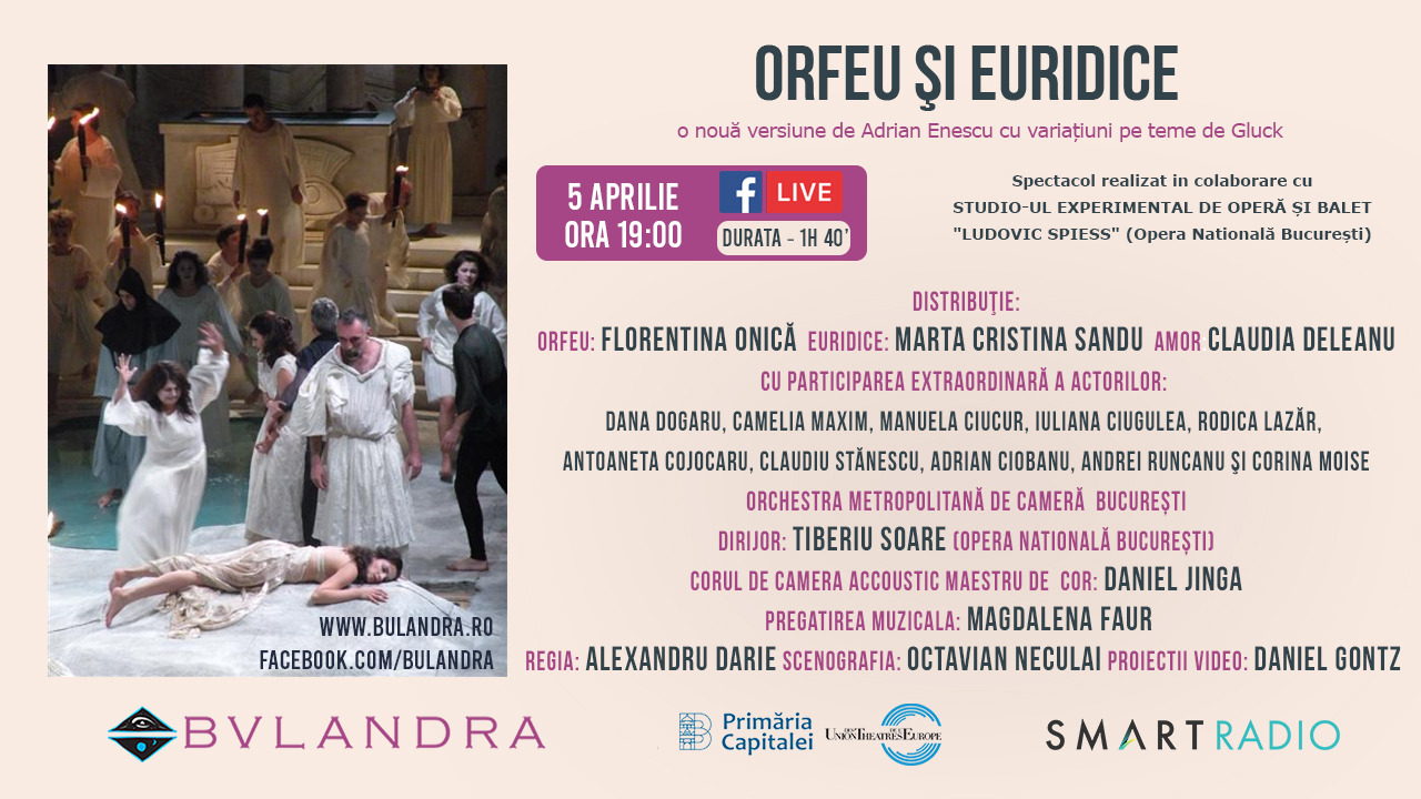 Teatru: 'Orfeu și Euridice' în regia lui Ducu Darie, de la 19:00 live pe SmartRadio.ro