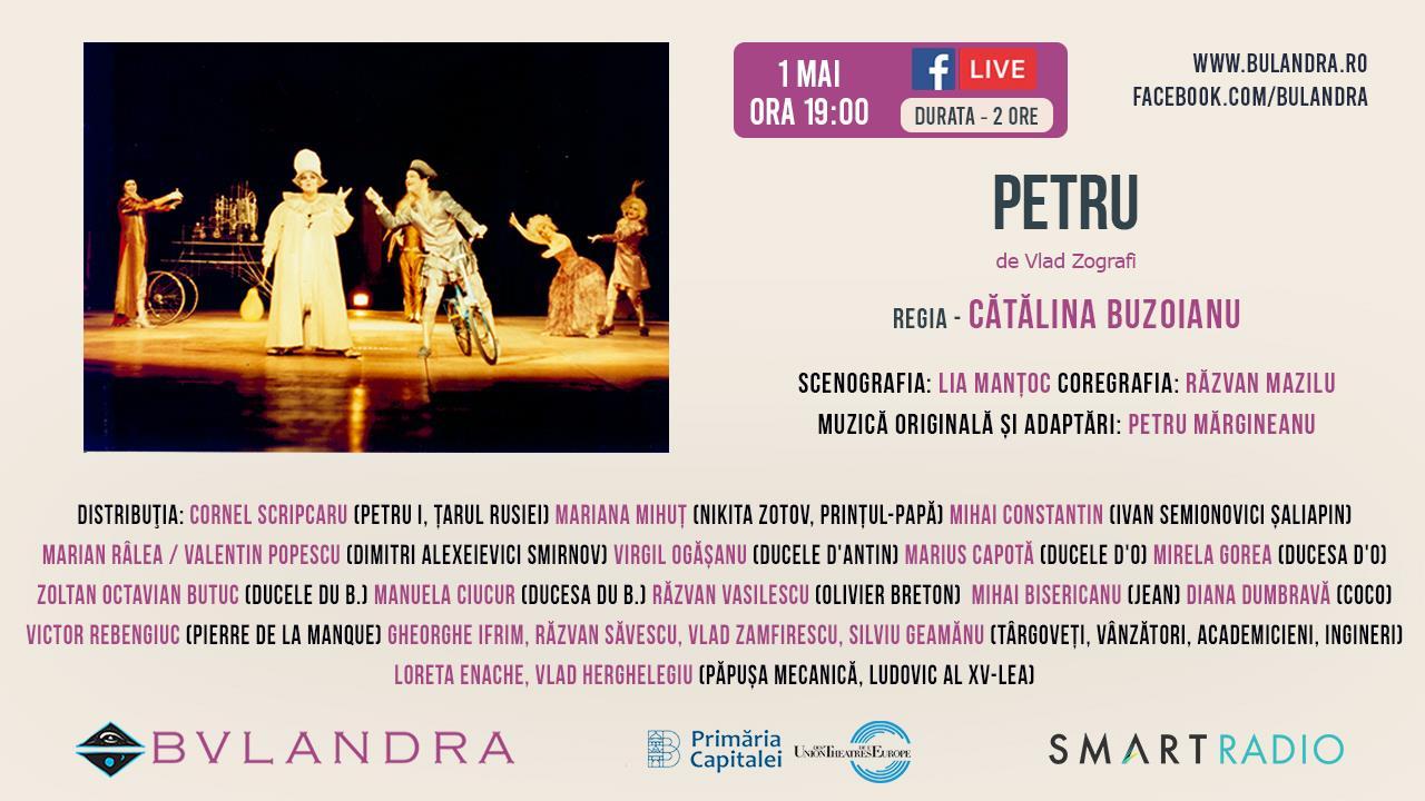 1 mai la teatru: vezi spectacolul PETRU de la Bulandra, gratuit de la ora 19:00