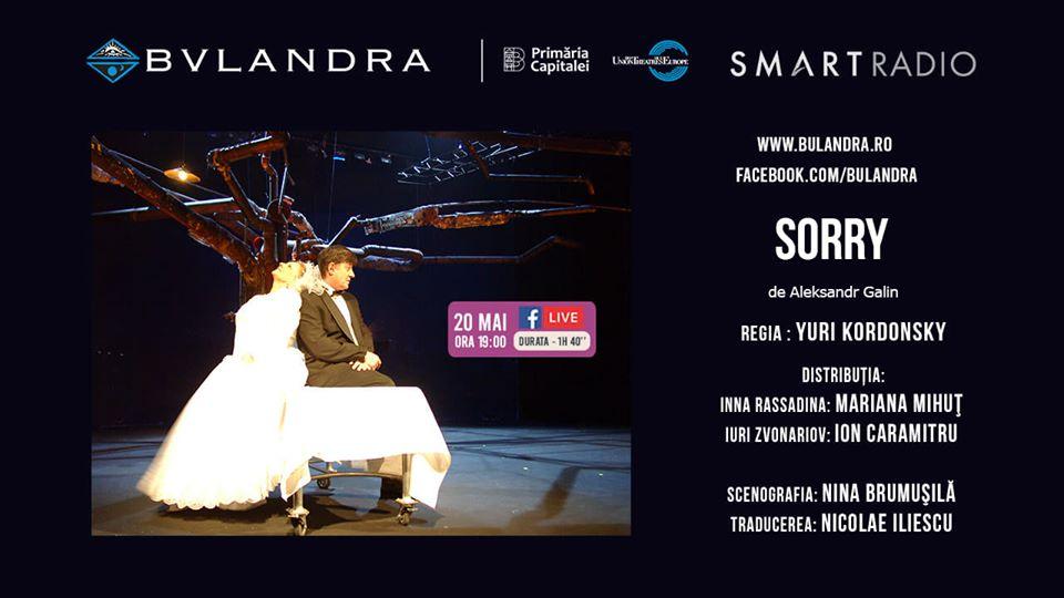 Teatru online: 'SORRY', poveste de dragoste cu Mariana Mihuț și Ion Caramitru, de la ora 19:00