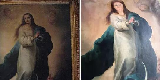 O copie veche a unei picturi de Murillo, distrusă de un restaurator din Spania