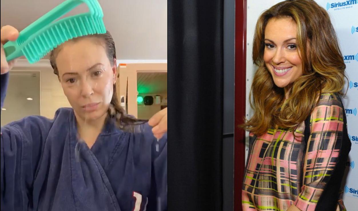 VIDEO  Actrița Alyssa Milano arată cât păr pierde din cauza infectării cu Covid-19