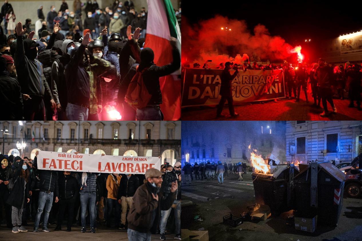 Italia  Revoltele se extind în toată țara. Recordul de cazuri noi nu-i oprește pe manifestanți