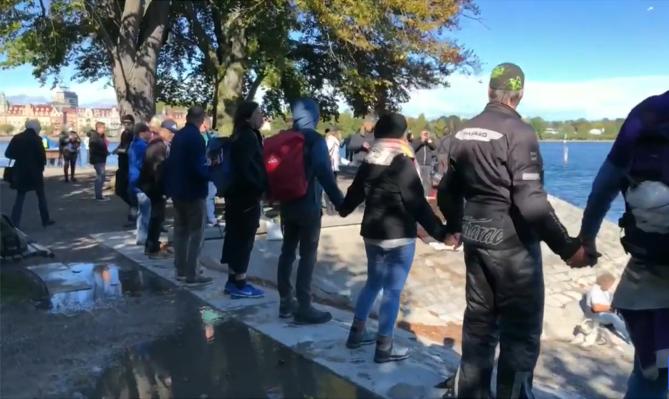 """Lanț """"anti-mască"""" la granița germano-elvețiană, sâmbătă 3 octombrie"""