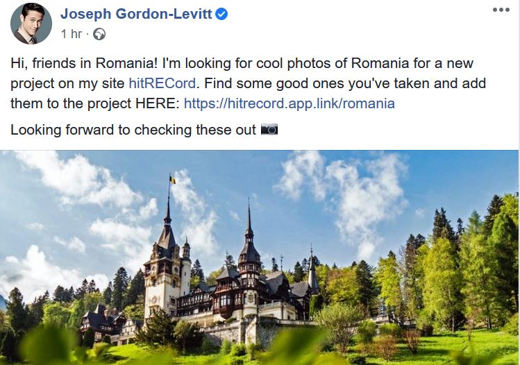 Actorul Joseph Gordon-Levitt caută poze frumoase din România