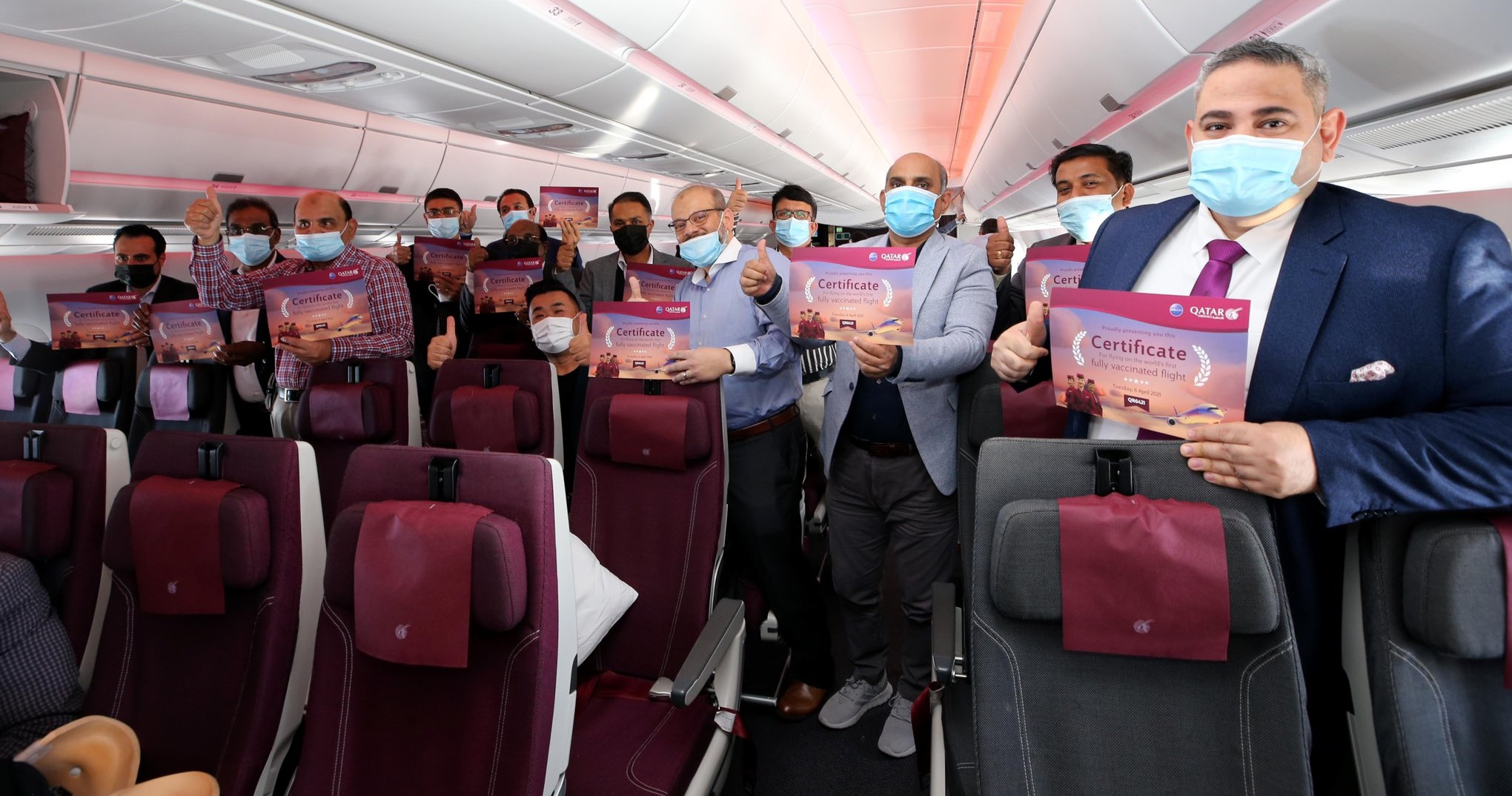 Primul zbor din lume destinat exclusiv pasagerilor vaccinați anti-Covid a decolat de la Doha, Qatar