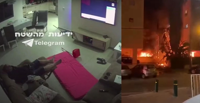 VIDEO| O rachetă trimisă din Fâșia Gaza lovește locuința unui israelian care se relaxa în fața televizorului