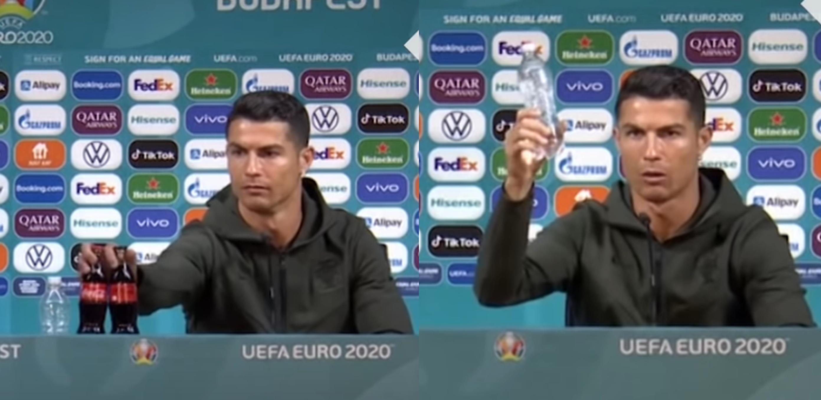 Coca Cola pierde 4 miliarde de dolari după ce Ronaldo a îndepărtat sticlele și a îndemnat spectatorii să bea apă