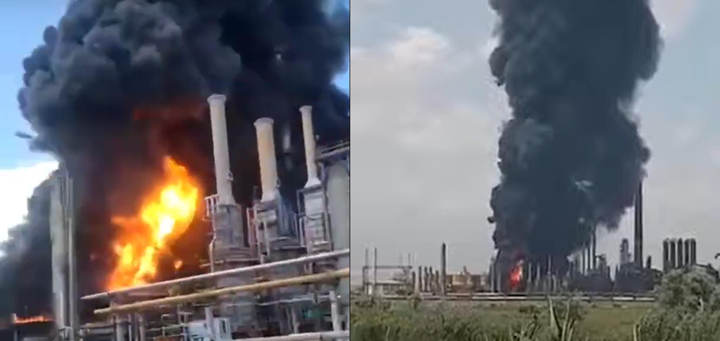 VIDEO  Explozie la Rafinăria Petromidia, pompierii încearcă să stingă incendiul. A fost activat planul roșu
