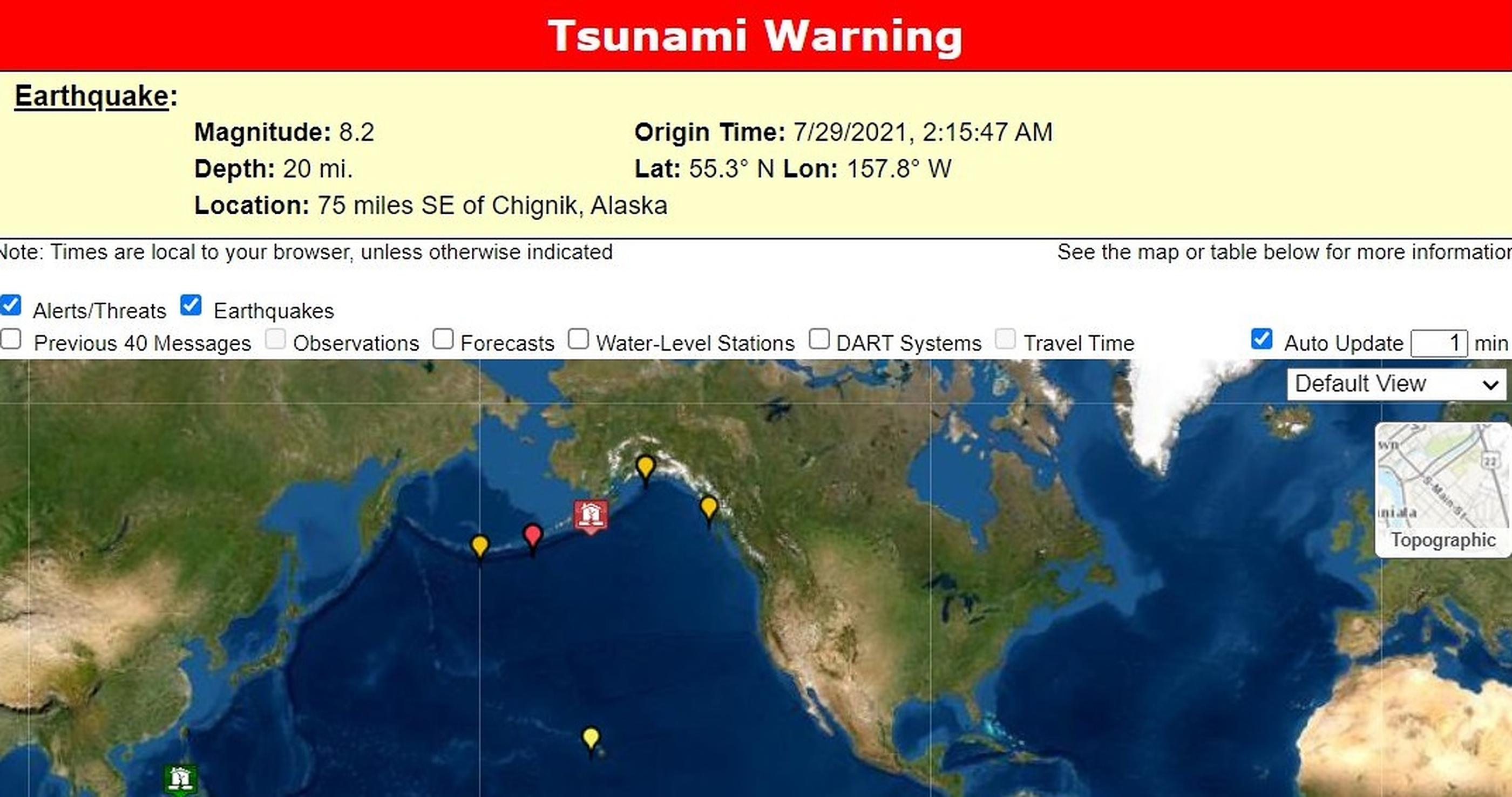 VIDEO| Cutremur de 8,2 grade pe scara Richter, în Alaska. Alertă de tsunami