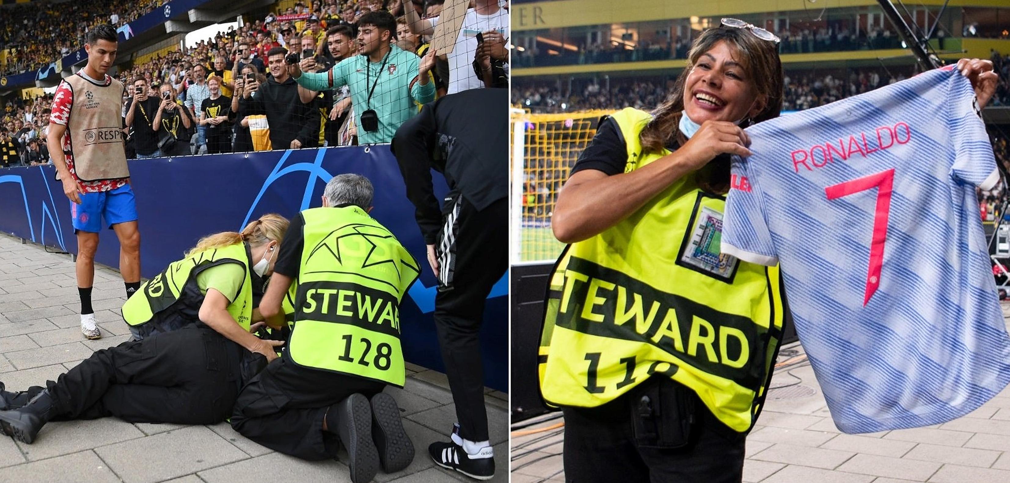 VIDEO  O minge șutată de Cristiano Ronaldo se oprește în capul unei femei și o pune la pământ. Portughezul i-a oferit primul ajutor